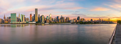 Gooood Morning NYC! (Mike Orso) Tags: park city nyc newyorkcity travel bridge sky panorama ny newyork color building metal skyline architecture clouds skyscraper sunrise buildings print photography photo colorful cityscape image cloudy manhattan fineart picture panoramic canvas midtown un unitednations eastriver empirestatebuilding chryslerbuilding citibank queensborobridge gantry gantryplazastatepark 59stbridge mikeorso