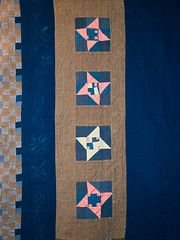 P8141273 (MizGingerSnaps) Tags: pink blue summer usa brown green night virginia sand quilt mud recycled linen contemporary gray navy khaki indigo august nightshift cotton clay solids quilting medallion finished williamsburg quilted freehand patchwork improvised scrap cobalt primitive 25years pinkandgreen day226 improvisational 9patch makingdo vintagefabrics fourelements handquilted 52weeks upcycled blueandbrown week33 machinepieced 2013 3352 perlecotton machinequilted airearthfirewater sandseaskystars