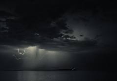 Mood Lightning (Nimble Pixel) Tags: ocean storm water rain clouds island lightning juandefuca salishsea trialislands