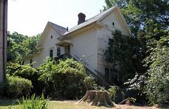 House - Springfield, OH (Pythaglio) Tags: county wood windows ohio chimney house tree brick overgrown altered 11 historic staircase clark frame stump springfield siding brackets cornice returns