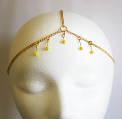 Head Chain - Neon Bicone Beads - Gold - Gypsy Goddess Piece 1 DUKE OF JAHAN. (Duke of Jahan Jewelry) Tags: house yellow hair gold beads neon princess head goddess jewelry chain egyptian harlow accessories bridal headband accessory headpiece bicone