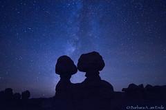 Eternal Kiss (Squirrel Girl cbk) Tags: night stars utah nightscape unitedstates greenriver hoodoos milkyway goblinvalleystatepark entradasandstone