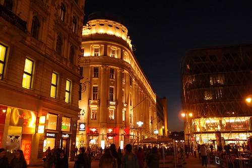 Shopping  street after dark - Budapest 2013