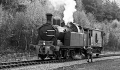 Preparing To Shunt (Frodingham Photographer) Tags: blackwhite steamengine levisham nymr no29 photocharter lambtontank