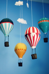 Hot Air Balloon Mobile (Jaime Carter) Tags: blue red newzealand up yellow mobile bedroom stripes nursery balloon hamilton floating felt waikato hotairballoon kit float tranquil sebastien upupandaway jaimewalsh jaimecarter picmonkey craftsmafthotairballoonmobile craftsmaft craftschmaftcom