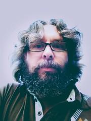 Hairs. ([ the black star ]) Tags: me face self hair beard glasses things stuff shrug theblackstar