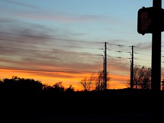 Stay Right Where You Are... (Pfish44) Tags: sunset silhouette powerlines dontwalk stoplight handsignal 52weeksofpix2015