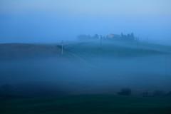 Silent  ~ Foggy morning  @ Vitaleta  ,  Tuscany  ( Toscana ) , Italy     ~ (PS~~) Tags: travel trees sky italy sun sunlight house holiday color tree green nature field grass yello