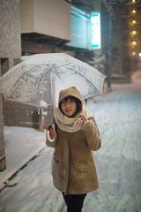 Walking A Snow Street At Night (aeschylus18917) Tags: winter woman snow storm cute girl beautiful smile japan night umbrella 50mm  snowfall   danielruyle aeschylus18917 danruyle druyle