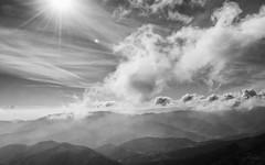 Fifty Shades of Grey (Gikon) Tags: sky bw sun mountains monochrome clouds blackwhite nikon heaven rays 1855mm heavenly ndgradfilter gikon d3100 fiftyshadesofgrey