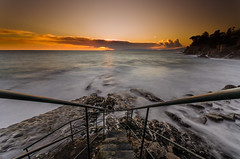 Stairway On The Way To The Smokey Water (photograffiando) Tags: longexposure sea color water stone clouds landscape gold nikon sigma genova 1020 bogliasco longtime sigma1020 neutraldensity theunforgettablepictures wonderfulword simplysuperb d7000 cloudsstormssunsetssunrises nikonclubit