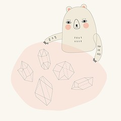 Collection (Andrea Kang) Tags: bear pink cute art geometric illustration square crystals drawing collection squareformat kawaii vector collector iphoneography instagramapp uploaded:by=instagram