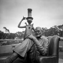 Ted Geisel (Dr. Seuss) and The Cat (_johnnelson_) Tags: sandiego pinhole ucsd zeroimage panf zero69