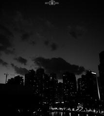 Sunset - Dubai Marina, UAE (kadryskory) Tags: city trip travel sunset urban bw water skyline night clouds buildings dubai skyscrapers uae bnw dubaimarina intothenight kadryskory
