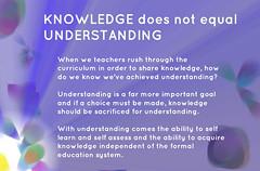 Educational Postcard: KNOWLEDGE not equal UNDERSTANDING (Ken Whytock) Tags: school students goal education learning knowledge teachers understanding