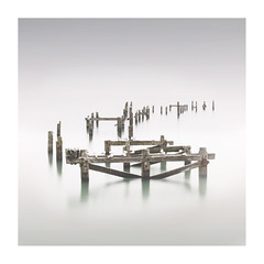 Remains (beach side of life) Tags: longexposure sea coast pier wooden shadows jetty dorset swanage remains squarecrop seabirds
