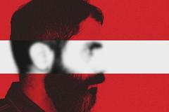 Blear (marcus.greco) Tags: red portrait white selfportrait man colour profile minimal blair conceptual