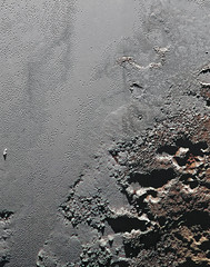 The Shores of Sputnik Planum (sjrankin) Tags: mountains ice pits edited nasa pluto nitrogen waterice newhorizons sputnikplanum 11june2016 frozennitrogen