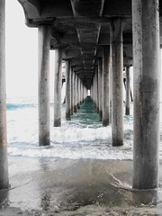 Under the Pier (disneyred) Tags: ocean california water architecture pier waves outdoor huntington southern socal column southerncalifornia huntingtonbeach colonnade surfcity surfcityusa