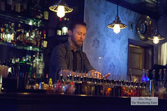 Derrick the bartender stirring a cocktail (thewanderingeater) Tags: nyc manhattan lowereastside garfunkels cocktaillounge