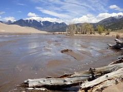 A Stream In The Sand (outdoorPDK) Tags: stream sanddunes greatsanddunesnationalpark snowcappedmountains