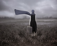 Leaving Magritte (Patty Maher) Tags: field scarf surrealism surreal suitcase fineartphotography conceptualphotography leavingmagritte