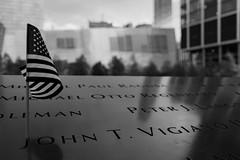 Ground Zero (Daniel Mortimer) Tags: world new york blackandwhite white newyork black america canon memorial flag name 911 sigma ground center names trade zero canon7dmarkii