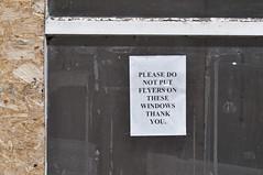 Hmmm! (Chris Mullineux) Tags: window sign wales notice derelict denbigh