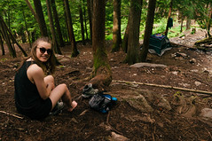No Shoes, No Problem (JeffAmantea) Tags: camping trees canada tree nature girl forest landscape nikon play bc columbia tent hike dirt barefoot british 24mm kootenays d90