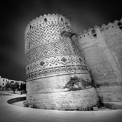Arg-e Karim Khan (freakingrabbit) Tags: bw white black tower castle monochrome architecture square iran citadel persia historic shiraz khan leaning dynasty karim zand arge fars