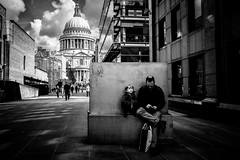 Father & son (tomabenz) Tags: street urban blackandwhite london monochrome candid streetphotography saintpaulscathedral bnw sonya7rm2 a7rm2