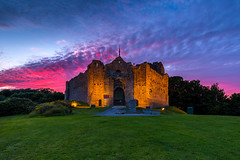 Oystermouth Castle (technodean2000) Tags: uk sunset red sky plant building castle grass swansea wales architecture evening bay photo nikon with outdoor south hill views stunning mumbles welsh overlooking sits lightroom oystermouth d610 majestically