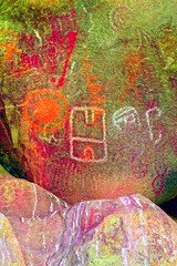 Old Woman Mountains Preserve, Painted Rock, Pictographs (darthjenni) Tags: rock stone native indian american petroglyph rockart pictograph chemehuevi