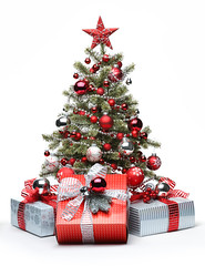 Decorated Christmas tree and gifts (raudn) Tags: china christmas new xmas winter red party white holiday tree green pine silver ball studio festive box background space year decoration noel newyear celebration ornament gift present fir ribbon bauble decorate copy greeting isolated