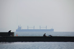 1 (  / Yorozuna) Tags: sea silhouette japan boat seaside fishing fisherman ship seawall hiroshima   tanker breakwater takehara  angler  angling            tadanoumi        seaembankment  tideembankment tadanoumiport coastlevee