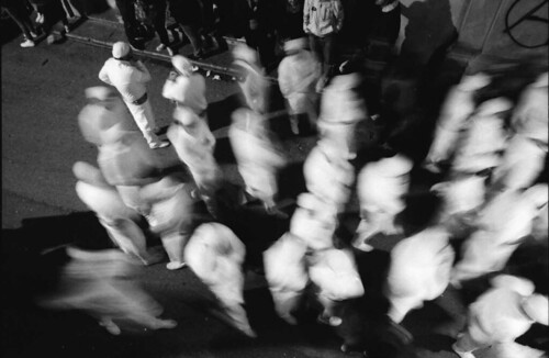 People in motion during a religious festival