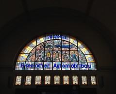 (h.a.i.k.e.) Tags: thringen fenster bahnhof architektur glasmalerei colourful glas bunt eisenach kunstambau lichtschatten empfangshalle glasmosaik ludwiggriesinger 70jahreeisenacherautomobilbau