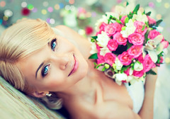 Beautiful blonde bride with a bouquet of flowers (thuvienanh89) Tags: park pink flowers wedding roses woman art nature girl beauty fashion glitter lady hair happy bride petals model glamour pretty dress joy style marriage romance celebration blonde attractive wife corset bouquet sweetheart elegant weddingdress hairstyle curlyhair makup charismatic russianfederation asmile gently alaugh