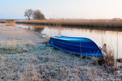 Blue (Johan Konz) Tags: blue boat ringvaart polder purmer ilpendam waterland netherlands landscape outdoor frozen winter reed water course sky nikon d90
