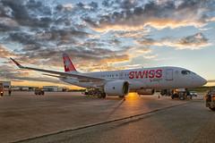 Golden times: Bombardier C Series CS100 C-GWXZ FTV5 (Patcard) Tags: sunset clouds airplane golden airport c commercial hour series bombardier cseries cs100 cgwxz ftv5