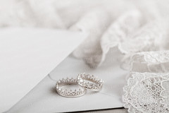 Silver crown wedding rings (Aleksa Torri) Tags: wedding two white love fashion metal silver groom bride design engagement couple shiny king married princess symbol lace anniversary background pair gray ceremony royal style marriage husband prince nobody jewelry romance queen celebration rings relationship invitation together envelope wife romantic crown jewelery elegant bridal proposal luxury marry accessory neutral shallowfocus