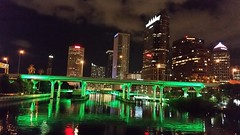 Green Lines (Michel Curi) Tags: city bridge urban green water architecture night buildings reflections tampa lights arquitectura edificios downtown florida structures ciudad nighttime fl hillsborough estructuras plattstreetbridge lovefl