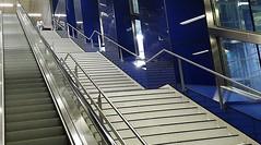uptown girl (Fotoristin - blick.kontakt) Tags: blue girl lines station architecture stairs underground subway escalator diagonal ubahn dsseldorf handymade uptowngirl fotoristin