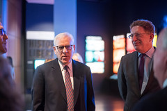 "Newseum president and CEO Jeffrey Herbst shows David M. Rubenstein the exhibit, ""1776 — Breaking News: Independence."""