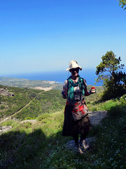 Painting dots on the trail from Arethousa to the mt. top (angeloska) Tags: ikaria hikingtrails opsikarias aegean greece signage    girl april atheras arethousa ridge