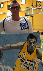 "Danilo Gallinari holding ""D. G. 8"" by M. A. S. (M. A. S. -mind against soul -- pop art project-) Tags: denvernuggets danilogallinari danilogallogallinari gallo8 gallo gallinari mas mindagainstsoul nba"