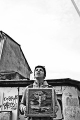 () Tags: street city portrait sky urban blackandwhite bw woman girl monochrome face female buildings looking expression jesus greece ioannina
