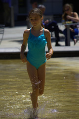 In The City (swong95765) Tags: kid girl play water wet bathingsuit fun city cute splash