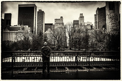 The Spectator (Feldore) Tags: park new york man ice skyline standing fun stand hands skyscrapers sony watch skating central spectator mchugh clasped rx100 feldore