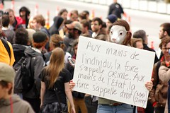 Protester with Sign (KMo Foto) Tags: canada students panda quebec montreal protest demonstration rights redsquare activist lawsuit p6 bylaw blaw anarco carrerouge